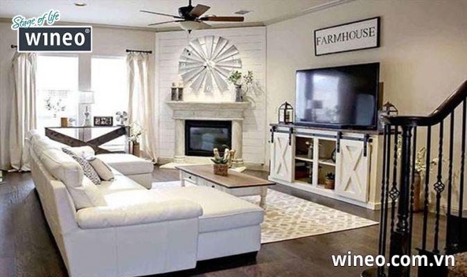 Sàn gỗ công nghiệp lắp đặt phòng khách mang phong cách châu âu cổ điển
