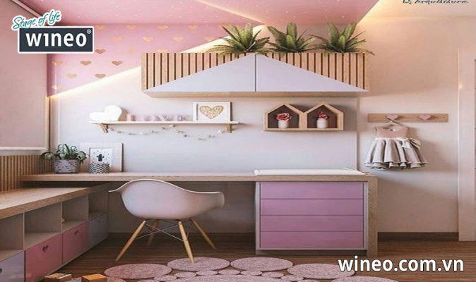Thiết kế độc đáo từ gỗ công nghiệp cho phòng ngủ bé gái