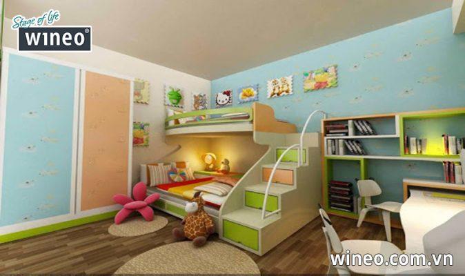 Các chuyên gia nội thất khuyên dùng sàn gỗ Wineo Đức cho phòng trẻ nhỏ