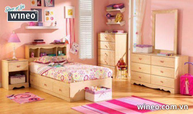 Phòng bé gái đẹp với sàn gỗ Đức tại công ty Tháng Giêng